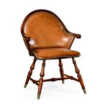Walnut windsor arm chair with brown leather