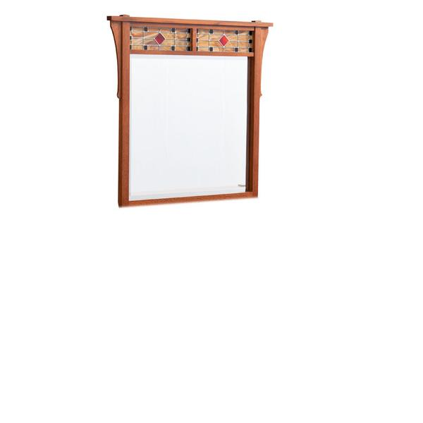 Grant Dresser Mirror with Stained Glass, Large