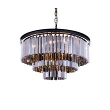 Sydney 9 light Matte Black Chandelier Silver Shade (Grey) Royal Cut Crystal