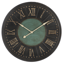 Distressed Black & Blue Embossed Roman Numeral Wall Clock