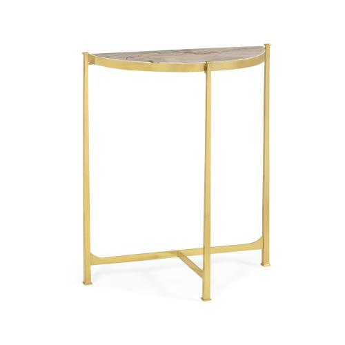 Small Solid Brass & Blanco Equador Marble Top Demilune Console Table