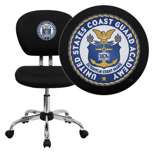 United States Coast Guard Academy Embroidered Black Mesh Task Chair with Chrome Base