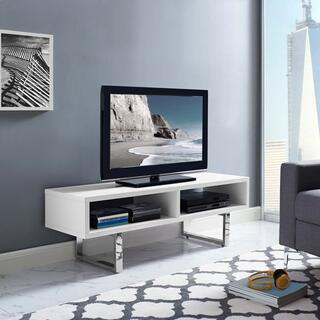"""See Details - Amble 47"""" Low Profile TV Stand in White"""