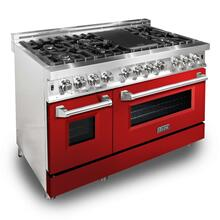 ZLINE 48 in. Professional Dual Fuel Range with Red Gloss Door (RA-RG-48)