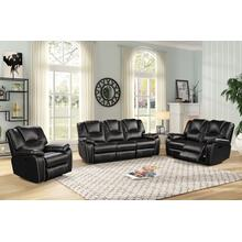 8084 BLACK 3PC Manual Recliner Air Leather Living Room SET