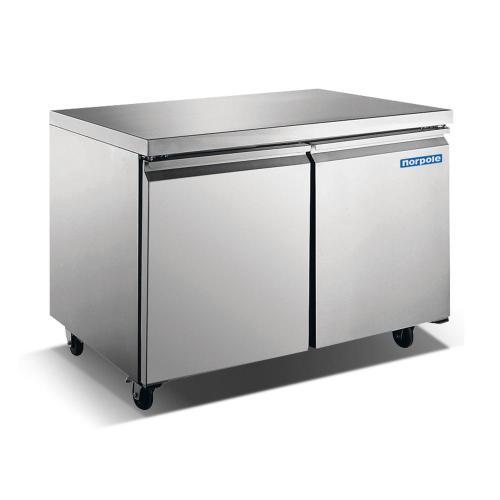 """48"""" 2 Door Stainless Steel Undercounter Refrigerator"""