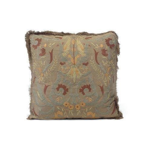 Caramel Silk Embroidered Pillow