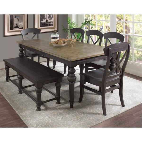 Harper - Rectangular Dining Table - Snowy Desert/matte Black Finish
