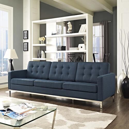 Loft Upholstered Fabric Sofa in Azure