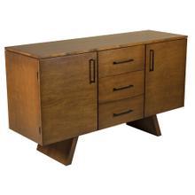 "See Details - 60"" Maple Buffet, 2 Door / 3 Drawers Black Pull Hardware 1 Adjustable Shelf Behind Each Door, Wood Foot"