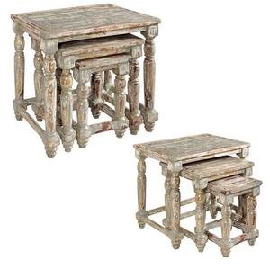 CRESTVIEW COLLECTIONSBengal Manor Mango Wood Distressed Grey Set of Nested Tables