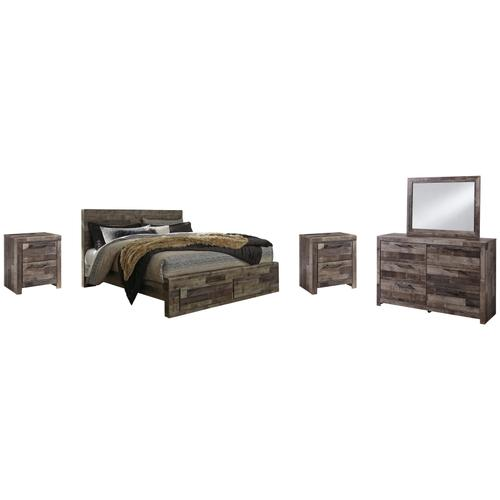 King Panel Bed With 2 Storage Drawers With Mirrored Dresser and 2 Nightstands