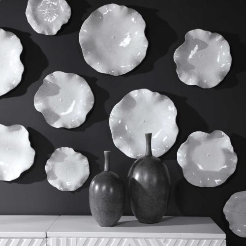 Abella White Ceramic Wall Decor, S/3
