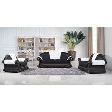 Divani Casa Procito Transitional Black & White Bonded Leather Sofa Set w/ Crystals