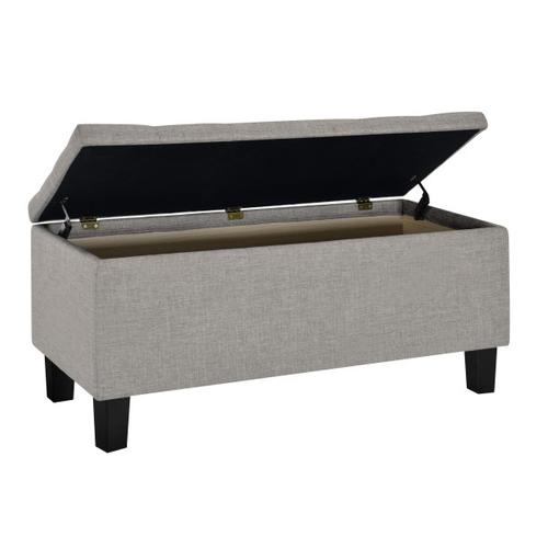 42 Inch Hinged Top Storage Bench w/ Diamond Tufted Seat in Glacier