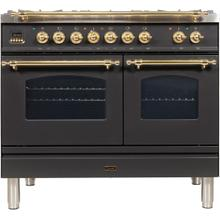 View Product - Nostalgie 40 Inch Dual Fuel Natural Gas Freestanding Range in Matte Graphite with Brass Trim