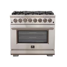 "36"" Capriasca Gas Range with 240 Volt Electric Oven Dual Fuel FORNO ALTA QUALITA Pro Style 6 DEFENDI Italian Burner 120,000 BTU All 304 Stainless Steel FFSGS6187-36"