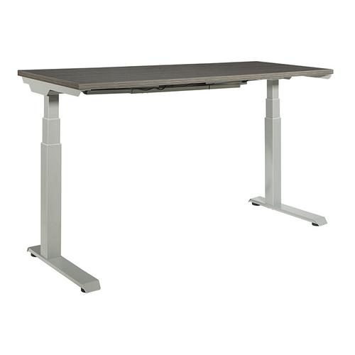"""60""""x24"""" Sit/stand Electric Height-adjustable Table, Slate Grey Top / Silver Base"""