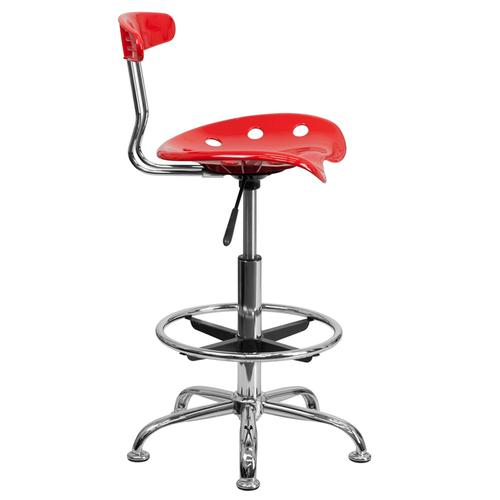 Flash Furniture - Vibrant Red and Chrome Drafting Stool with Tractor Seat