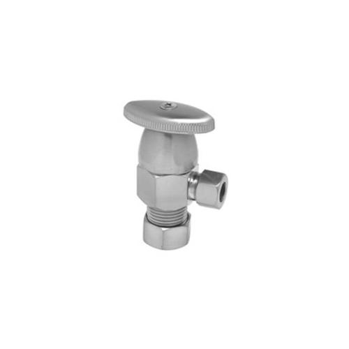 """Deluxe Brass Oval Handle Angle Valve - (5/8"""" O.D.) 1/2"""" Compression Inlet x 3/8"""" O.D. Compression Outlet - Tuscan Brass"""