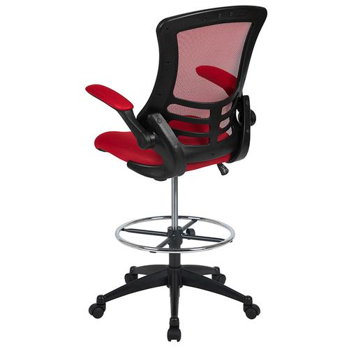Gallery - Mid-Back Red Mesh Ergonomic Drafting Chair with Adjustable Foot Ring and Flip-Up Arms