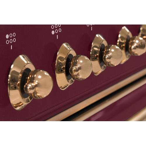 Majestic II 36 Inch Dual Fuel Liquid Propane Freestanding Range in Burgundy with Copper Trim