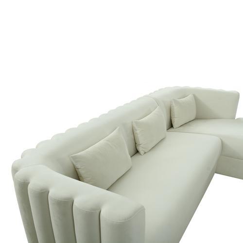Tov Furniture - Callie Cream Velvet Sectional - RAF