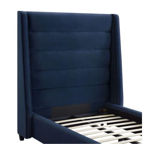 Product Image - Koah Navy Velvet Bed in Twin