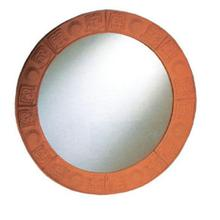 See Details - New Generation Large Round Mirror with Embossed Terra Cotta Border