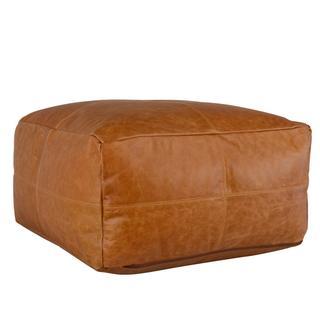 See Details - Leather Dumont Chestnut Pouf 24x24x12