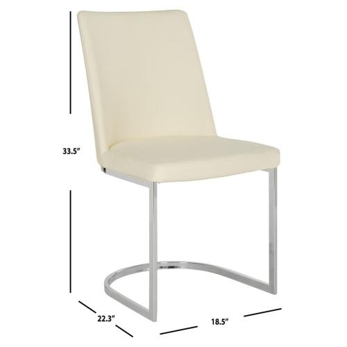 Product Image - Parkston 18''h Leather Side Chair - Buttercream / Chrome