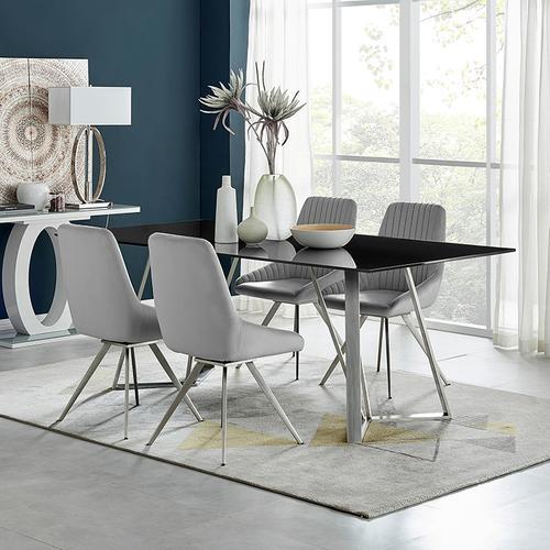 Cressida and Skye Gray Velvet 5 Piece Rectangular Dining Set