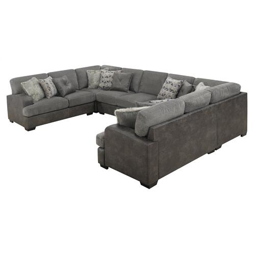 6pc Lsf Loveseat-2corner Chair-armless Chair-armelss Loveseat- Rsf Loveseat W/12 Pilllows Gray#tweed Pewter