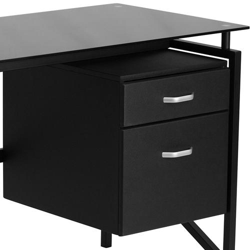 Flash Furniture - Glass Desk with Two Drawer Pedestal