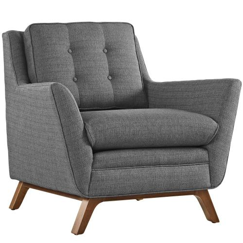Beguile Living Room Set Upholstered Fabric Set of 2 in Gray