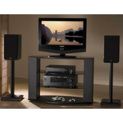 "Black 18"" Natural Series Wood Pillar Bookshelf Speaker Stands - Pair"