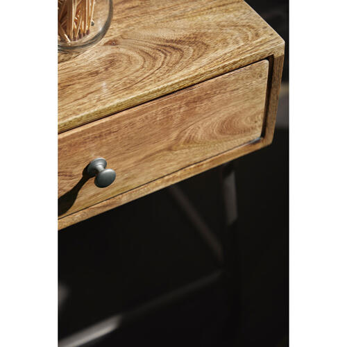 One Drawer Iron Base Side Table