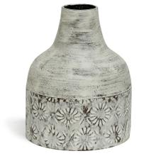 View Product - White Washed  10in x 8in Decorative Floral Metal Vase