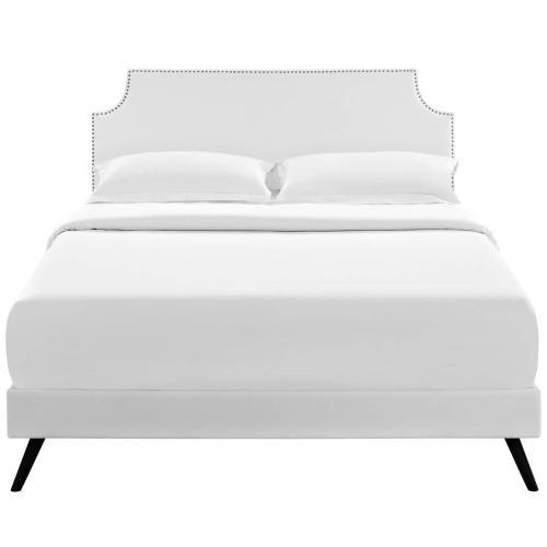 Modway - Corene Queen Vinyl Platform Bed with Round Splayed Legs in White