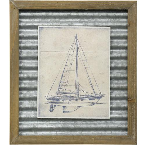 Style Craft - YACTH BLUEPRINT IV  16in X 14in  Made in the USA  Textured Framed Print
