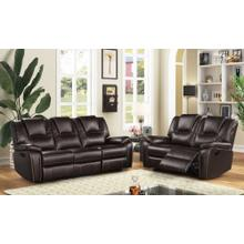 8085 DARK BROWN 2PC Manual Recliner Air Leather Living Room SET