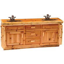 Vanity Base - 72-inch - Natural Cedar - Double Sink