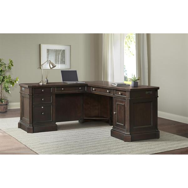 Rosemoor - L-desk and Return - Burnt Caramel Finish