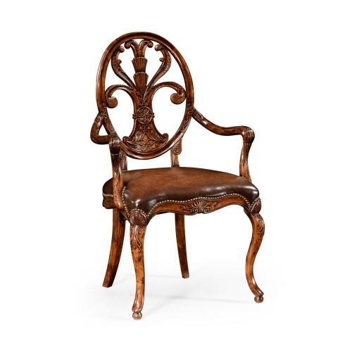 Sheraton Style Oval Back Arm Chair with Medium Antique Chestnut Leather Seat