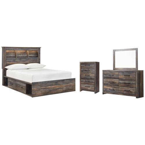 Full Bookcase Bed With 2 Storage Drawers With Mirrored Dresser and Chest