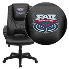 Florida Atlantic University Owls Embroidered Black Leather Executive Office Chair
