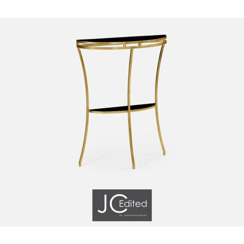 Gilded iron demilune console table