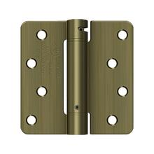 "4"" x 4"" x 1/4"" Spring Hinge, UL Listed - Antique Brass"