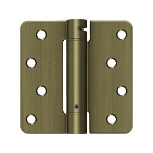 """Deltana - 4"""" x 4"""" x 1/4"""" Spring Hinge, UL Listed - Antique Brass"""