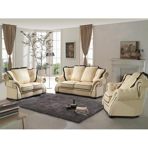 Divani Casa 0614 Modern Beige & Black Bonded Leather Sofa Set